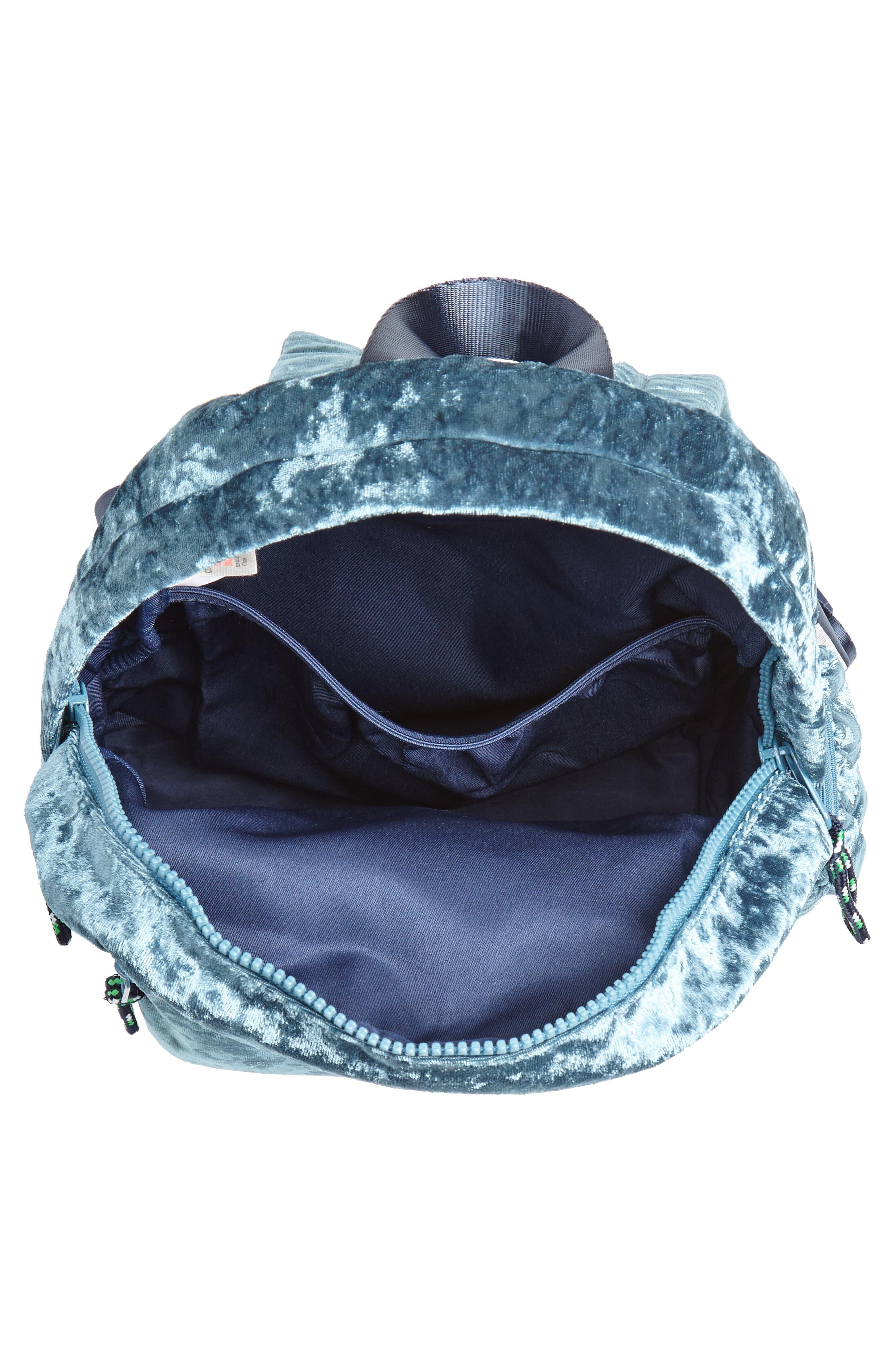 Crushed Velvet Backpack,                             Alternate thumbnail 4, color,                             Brilliant Turquoise