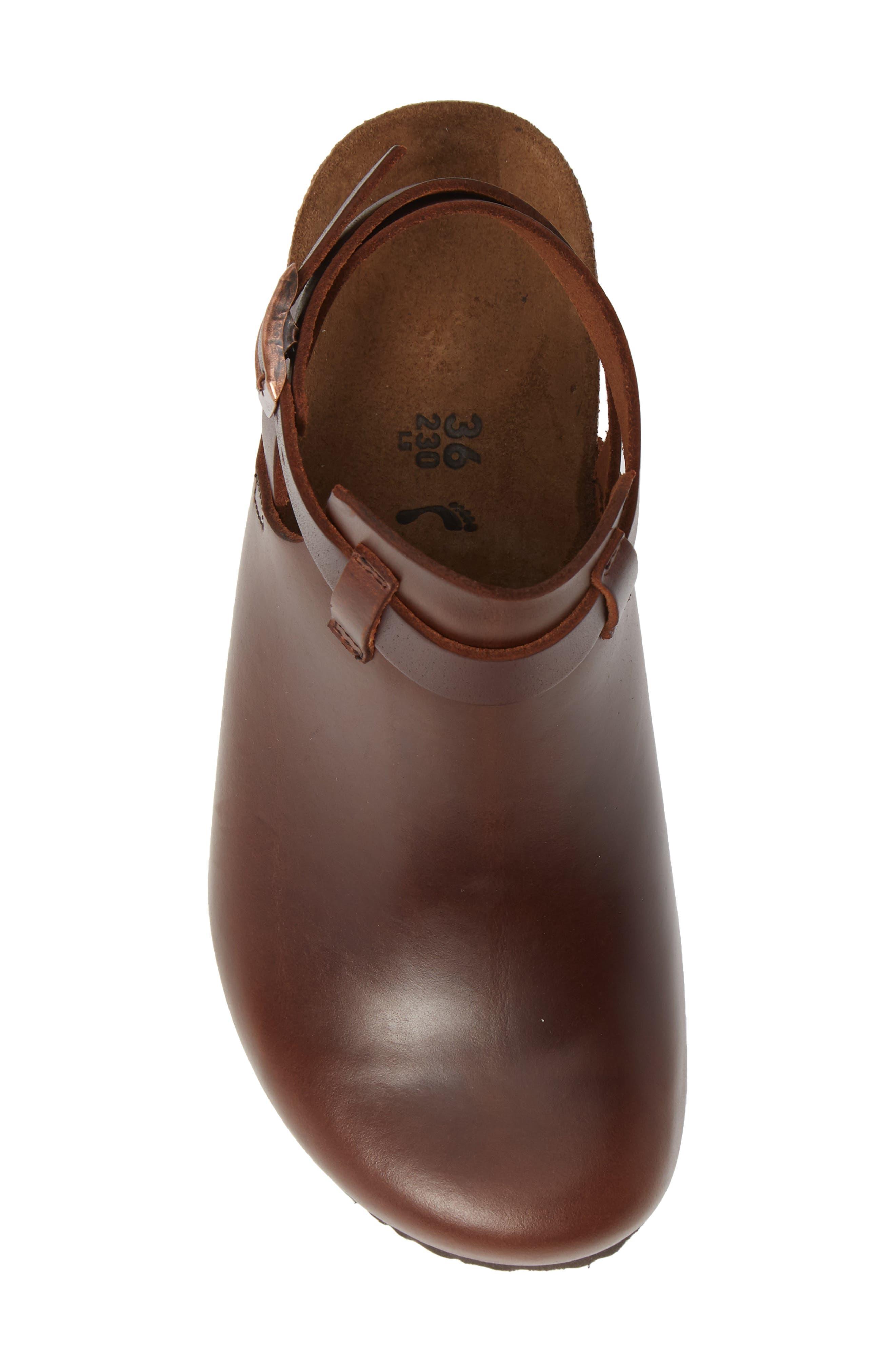 Esra Wedge Clog,                             Alternate thumbnail 3, color,                             Cognac Leather