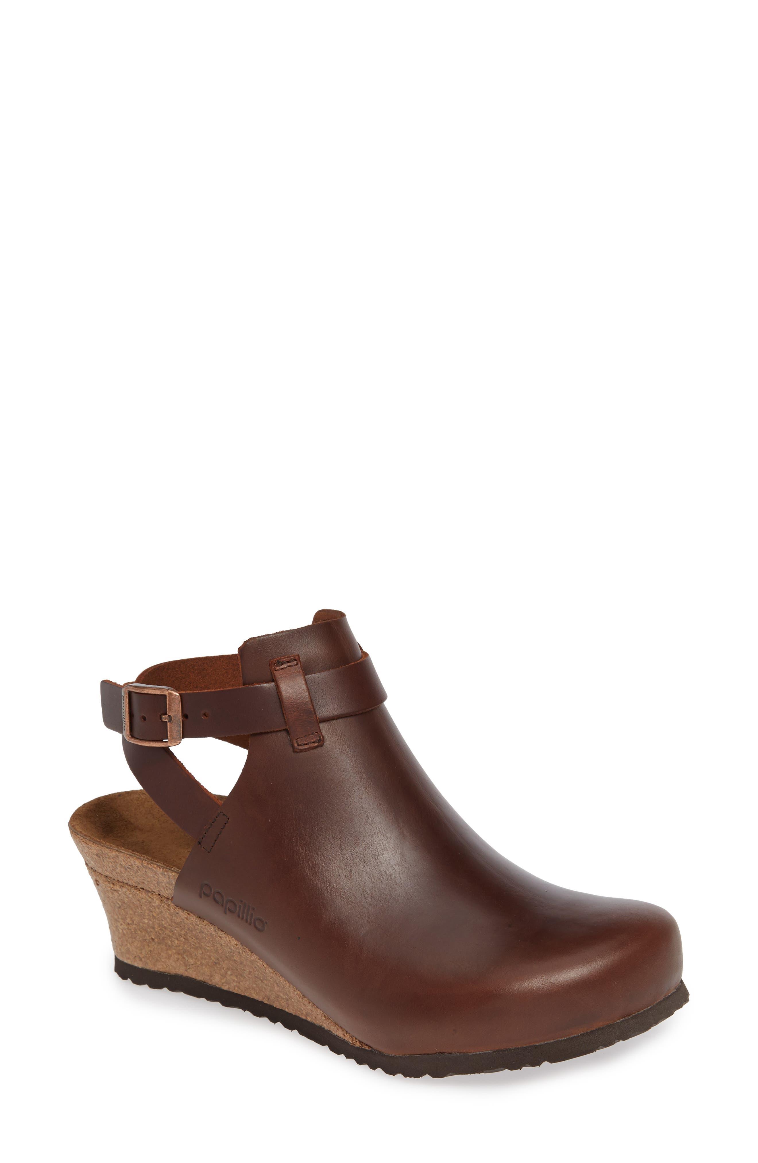 Esra Wedge Clog,                             Main thumbnail 1, color,                             Cognac Leather