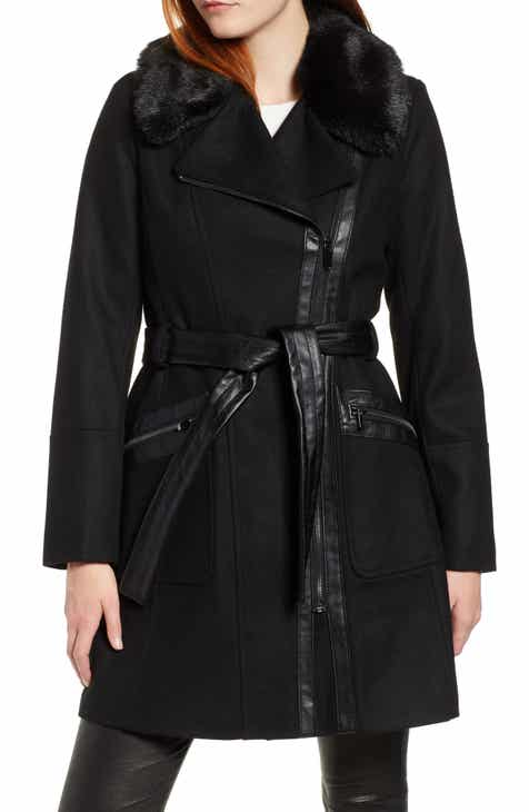 b11a5284e0b Via Spiga Faux Fur Trim Belted Jacket