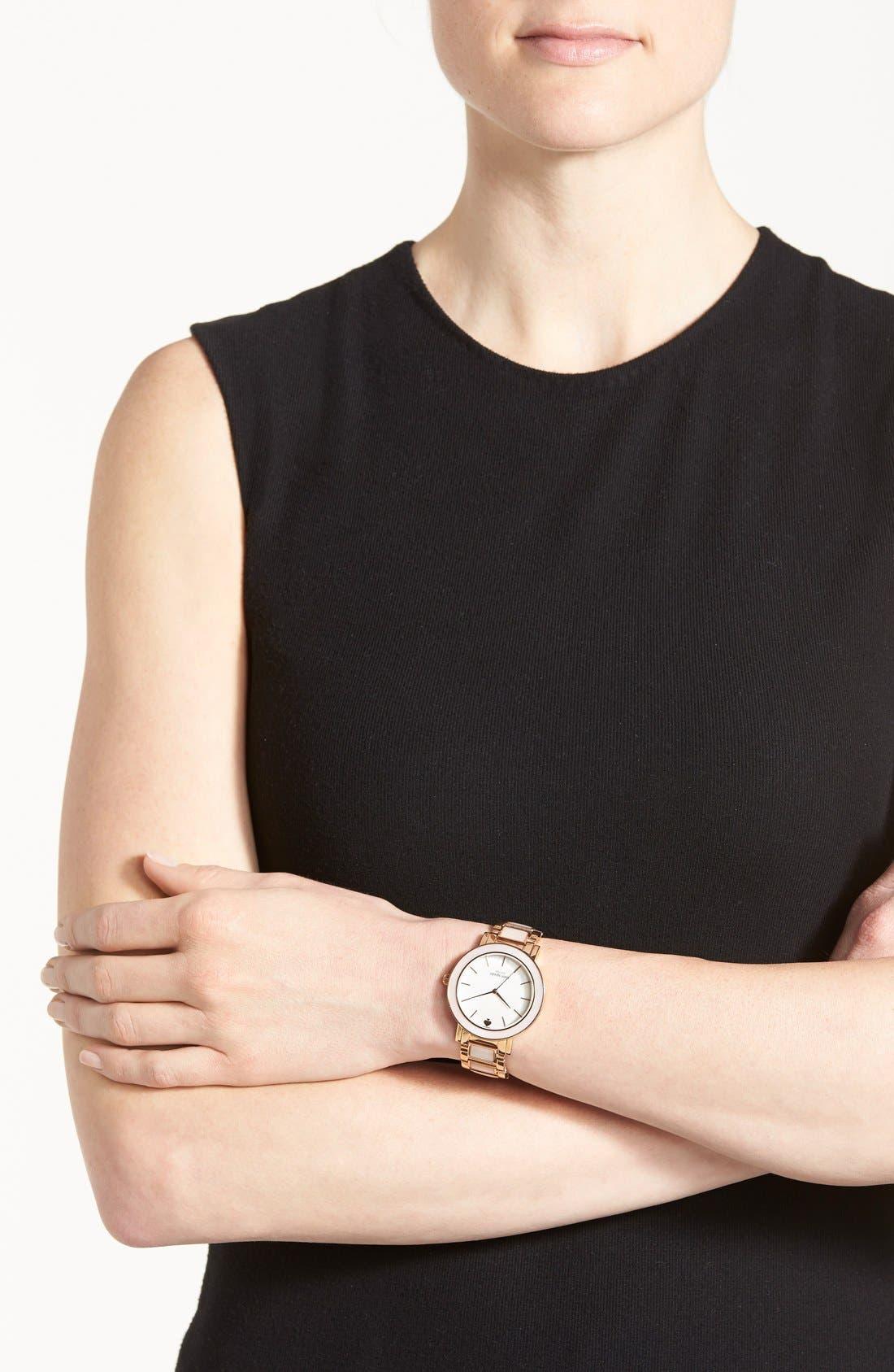 Alternate Image 4  - kate spade new york 'gramercy grand' mother-of-pearl bracelet watch, 38mm