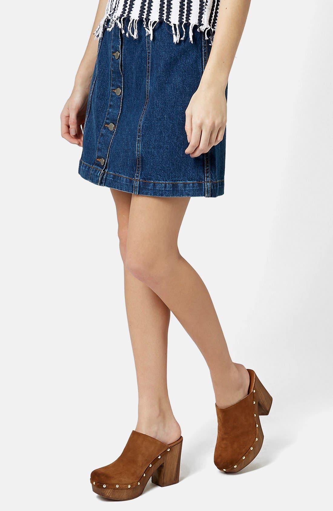 Moto Button Front Denim Miniskirt,                         Main,                         color, Mid Denim