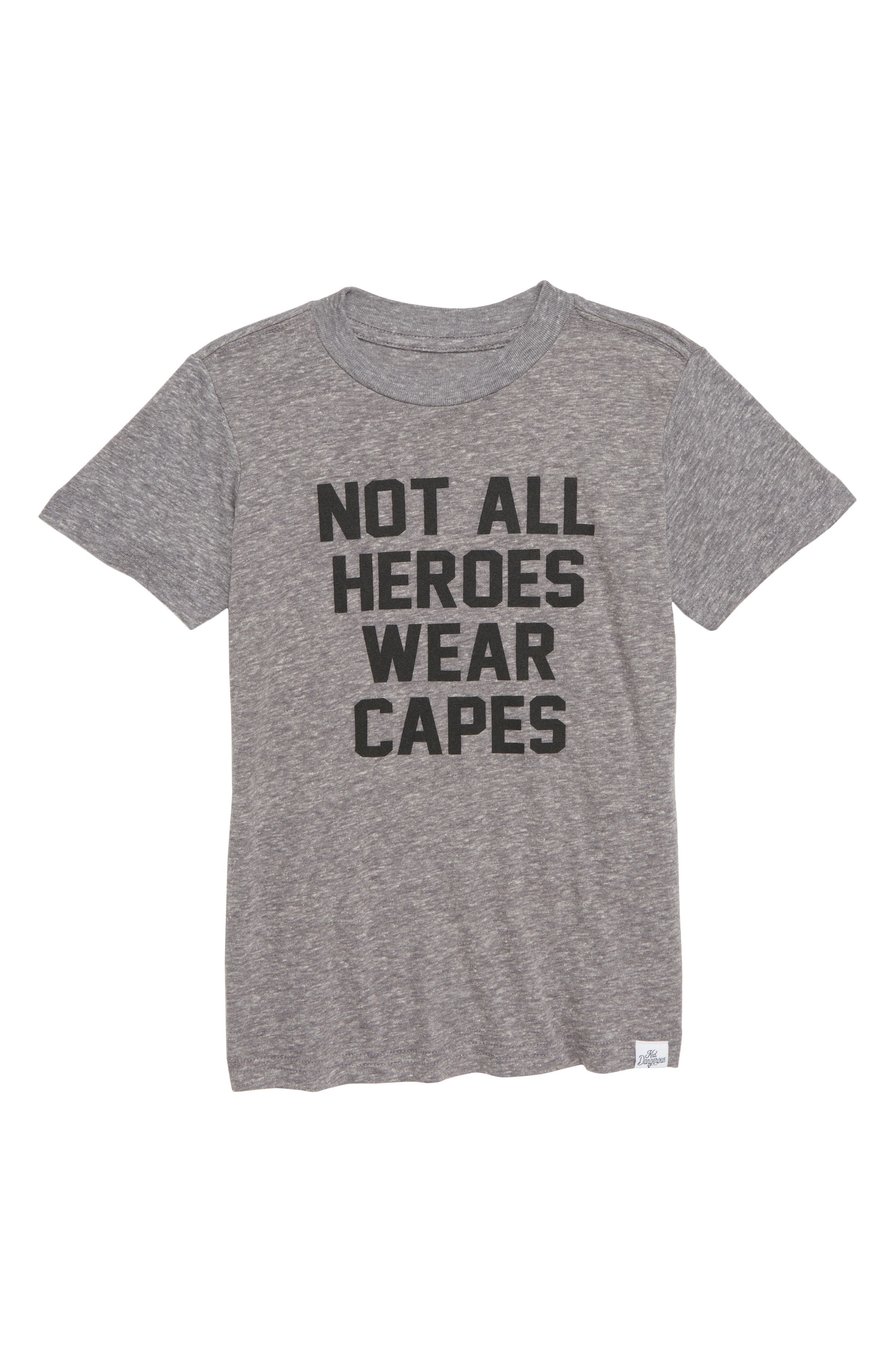 Not All Heroes Wear Capes Graphic T-Shirt,                             Main thumbnail 1, color,                             Med Gray