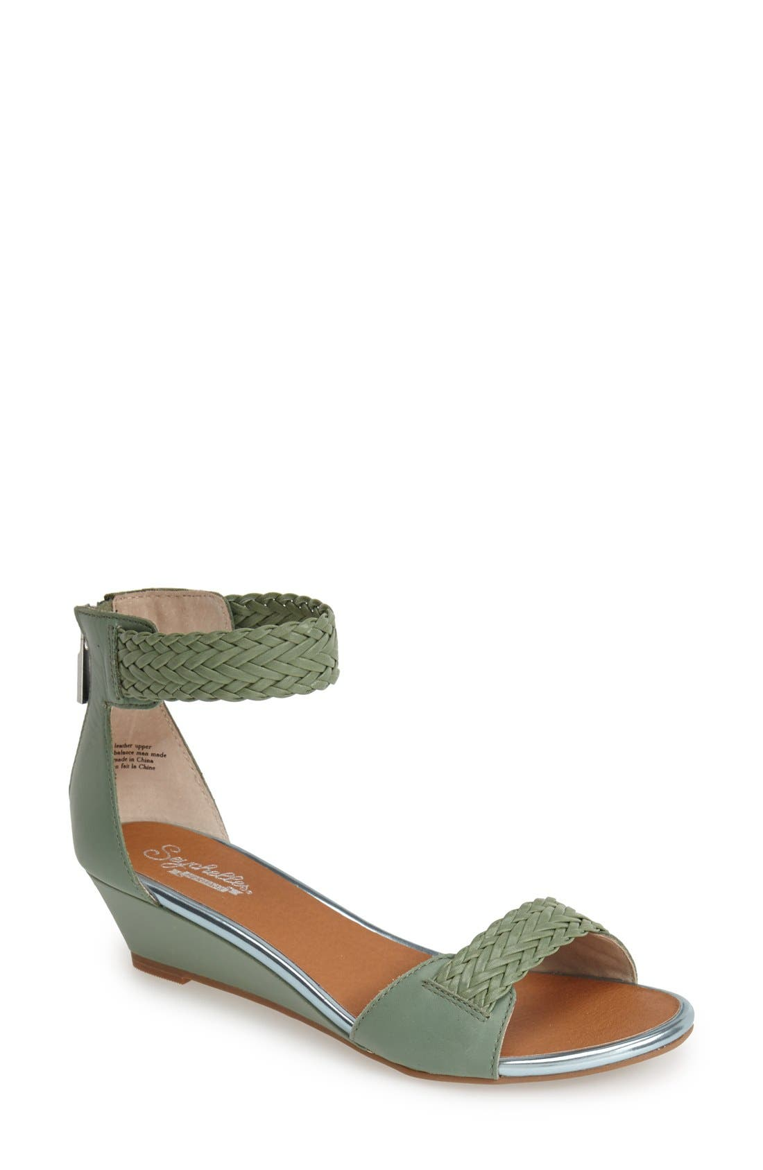Alternate Image 1 Selected - Seychelles 'Spelling Bee' Leather Ankle Cuff Wedge Sandal (Women)
