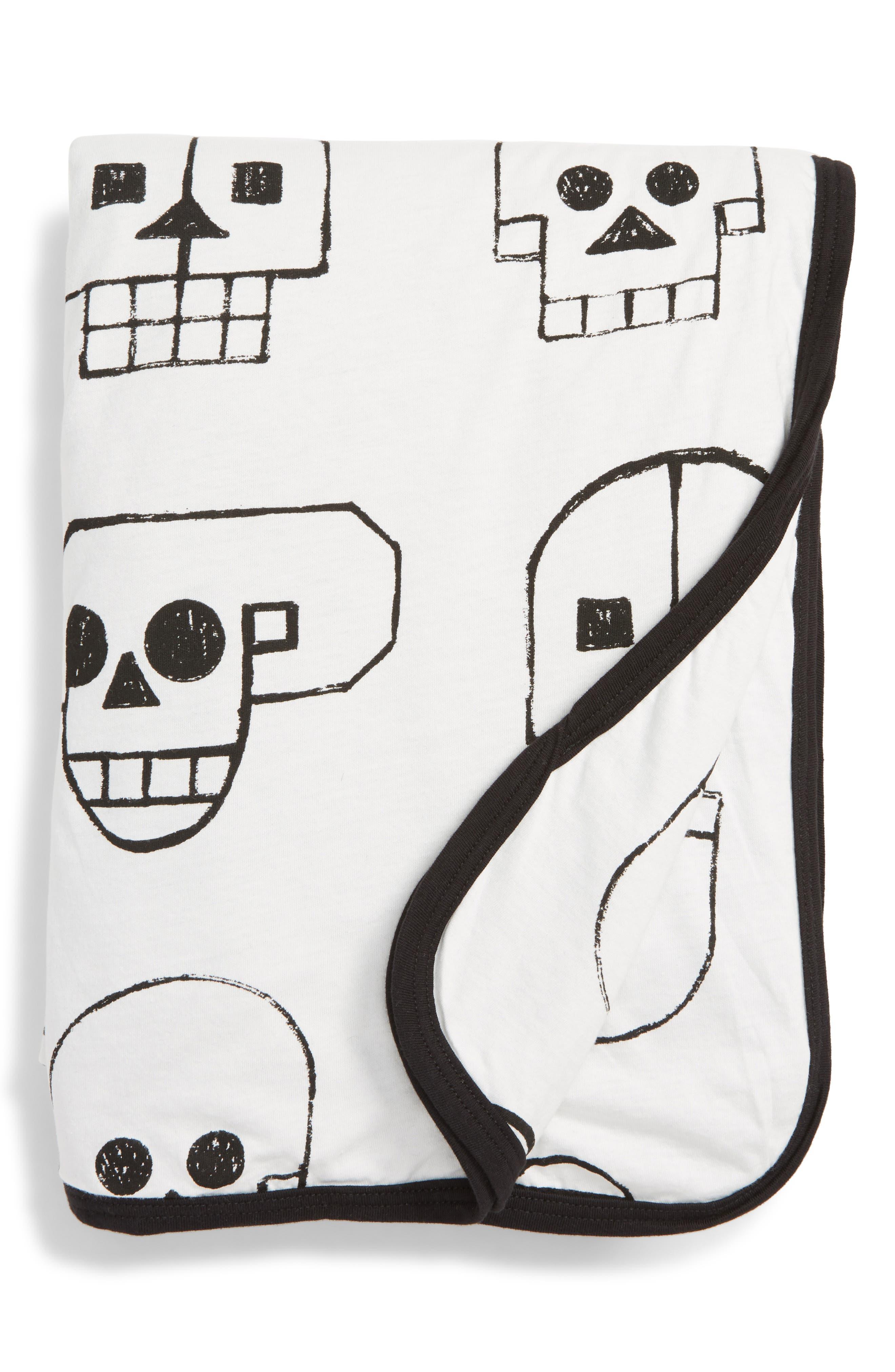 Skull Robot Print Blanket,                             Main thumbnail 1, color,                             White