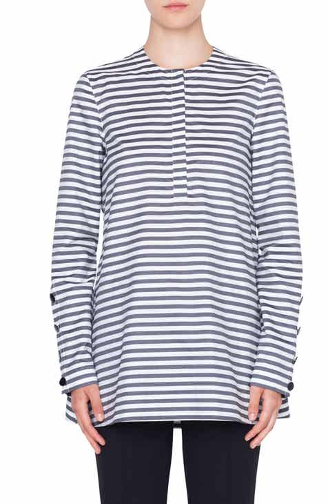 Akris punto Stripe Cotton Blouse
