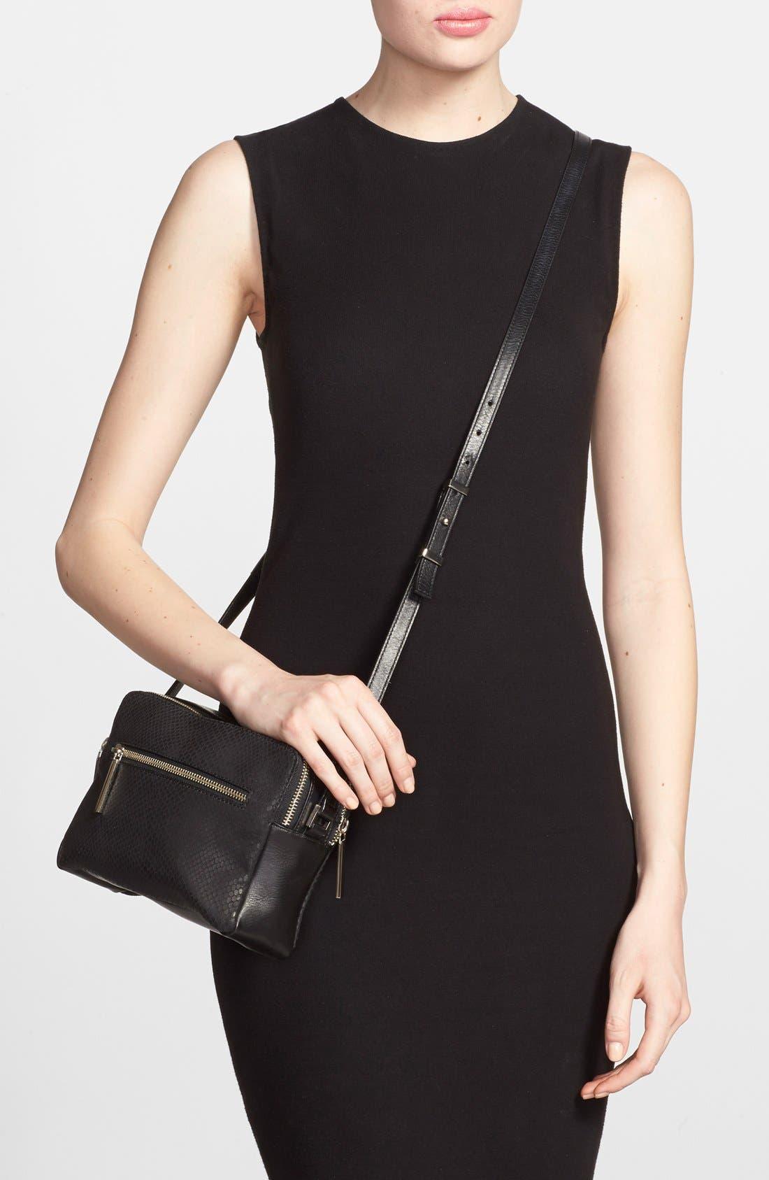 Alternate Image 2  - Halogen® Leather Double Zip Crossbody Bag