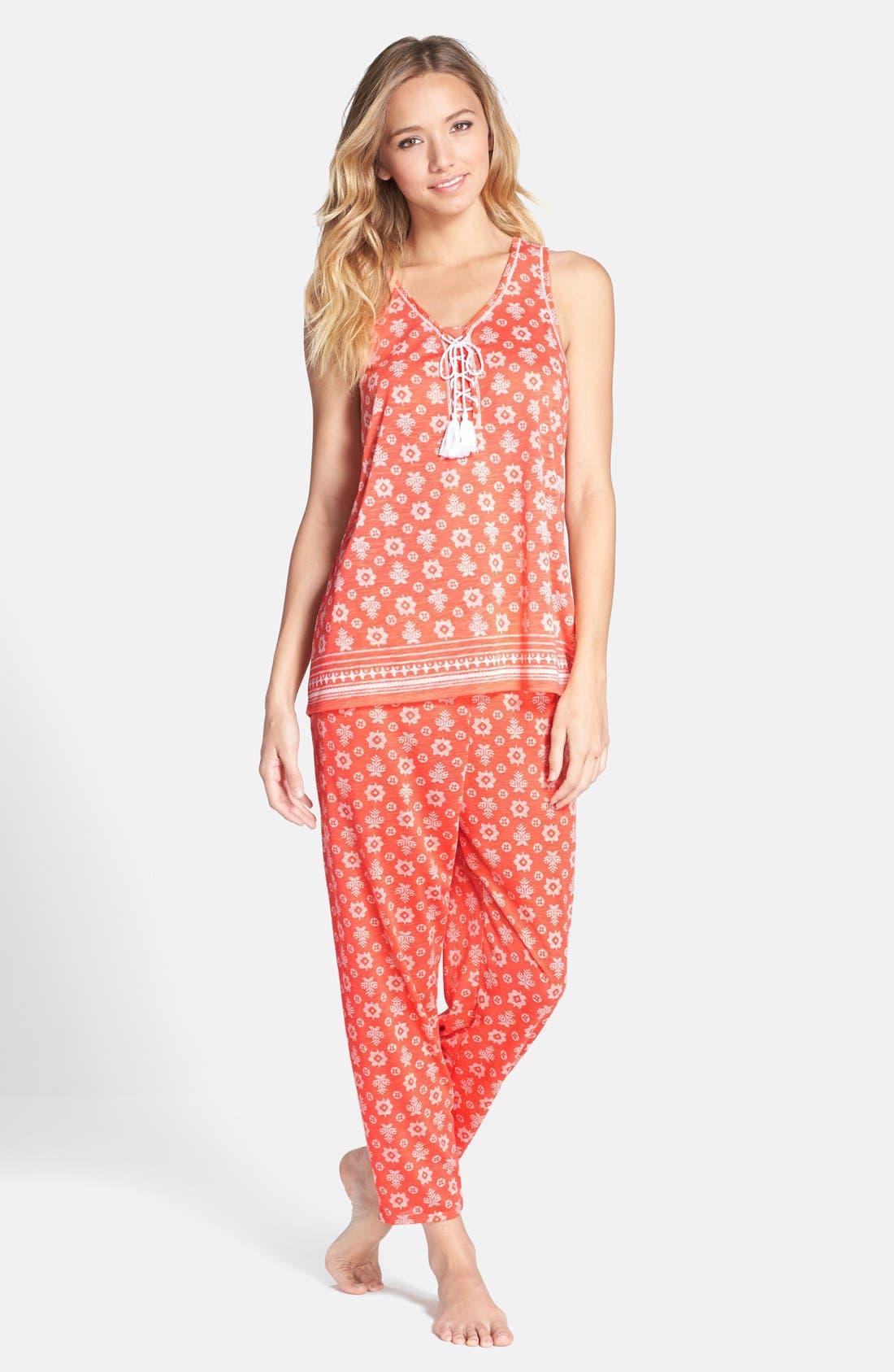 Alternate Image 3  - kensie Print Crop Jersey Pajama Pants