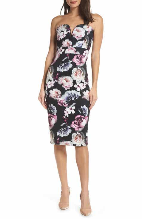 c912b0eb03 TFNC Halo Floral Strapless Sheath Dress