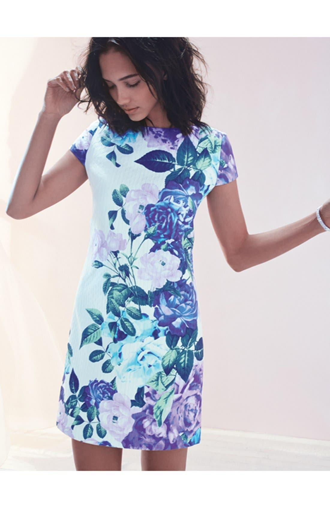 Alternate Image 5  - Eliza J Floral Jacquard Cotton Shift Dress (Regular & Petite)