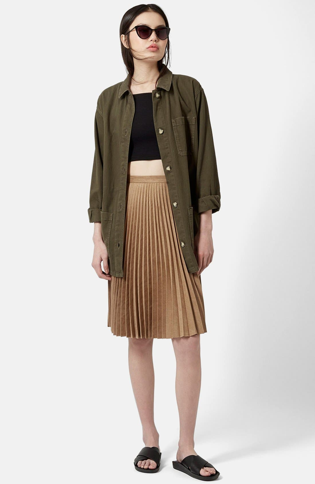 Alternate Image 5  - Topshop Pleated Faux Suede Skirt