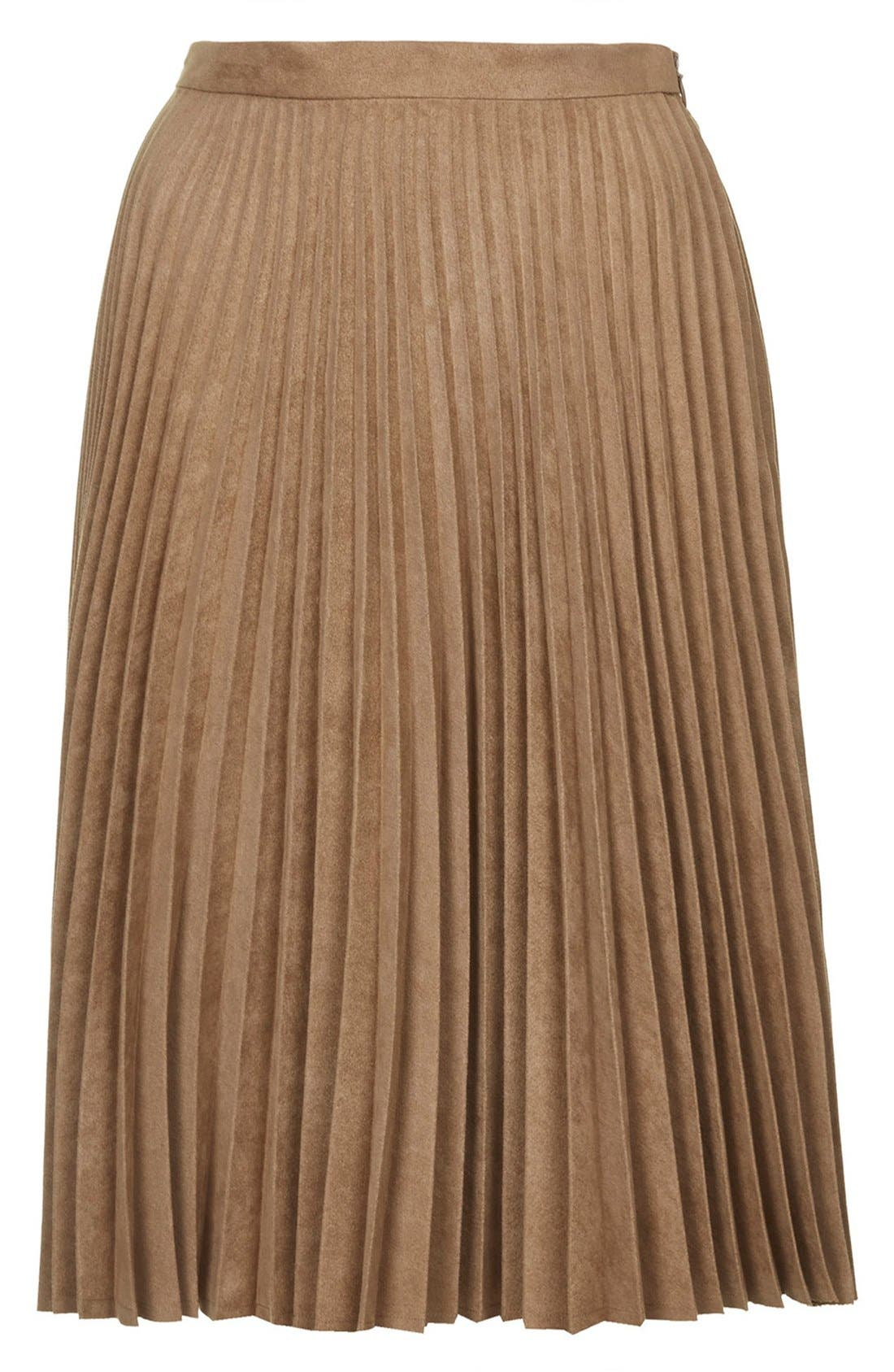 Alternate Image 3  - Topshop Pleated Faux Suede Skirt