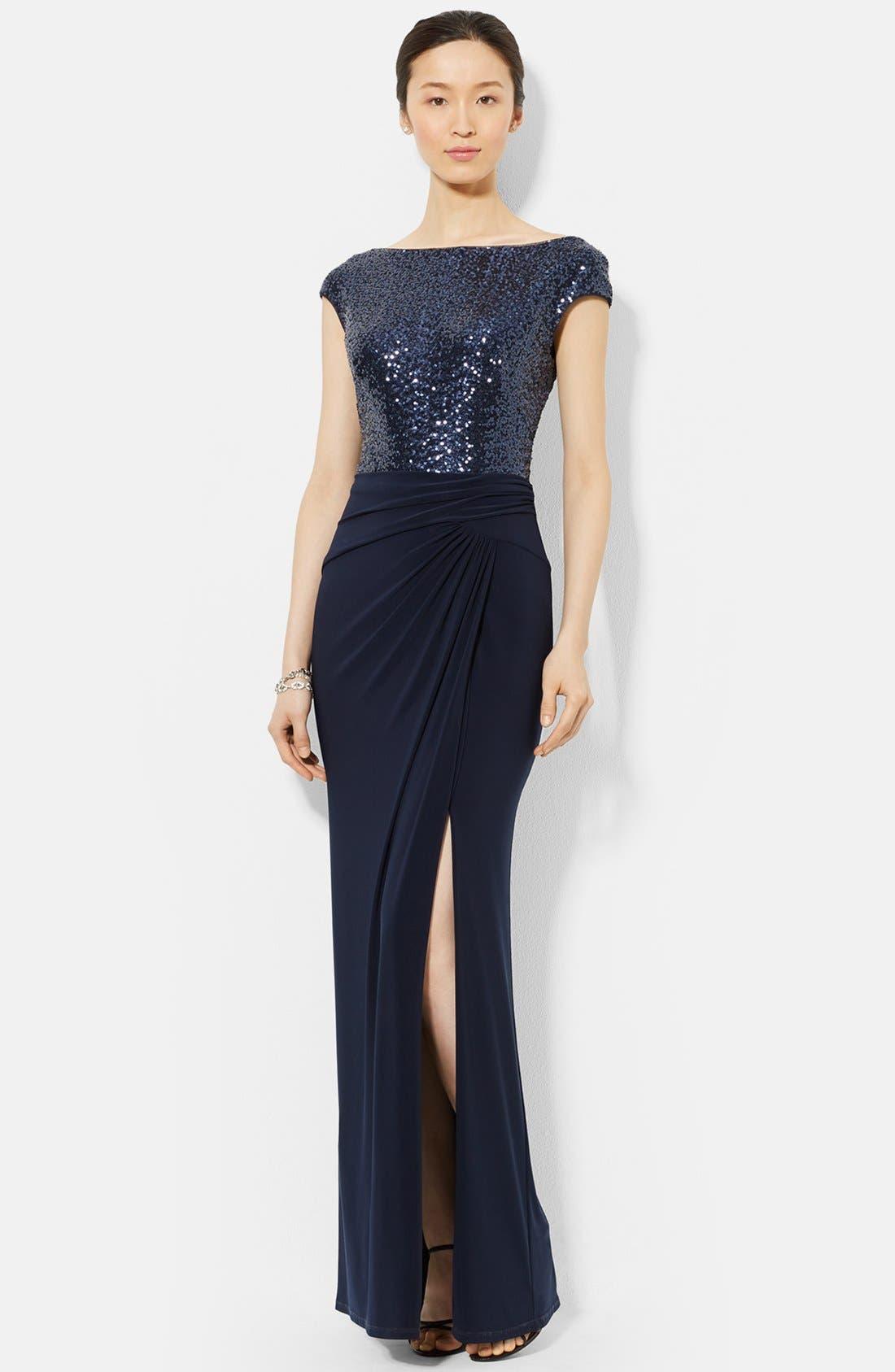 Main Image - Lauren Ralph Lauren Sequin & Jersey Gown