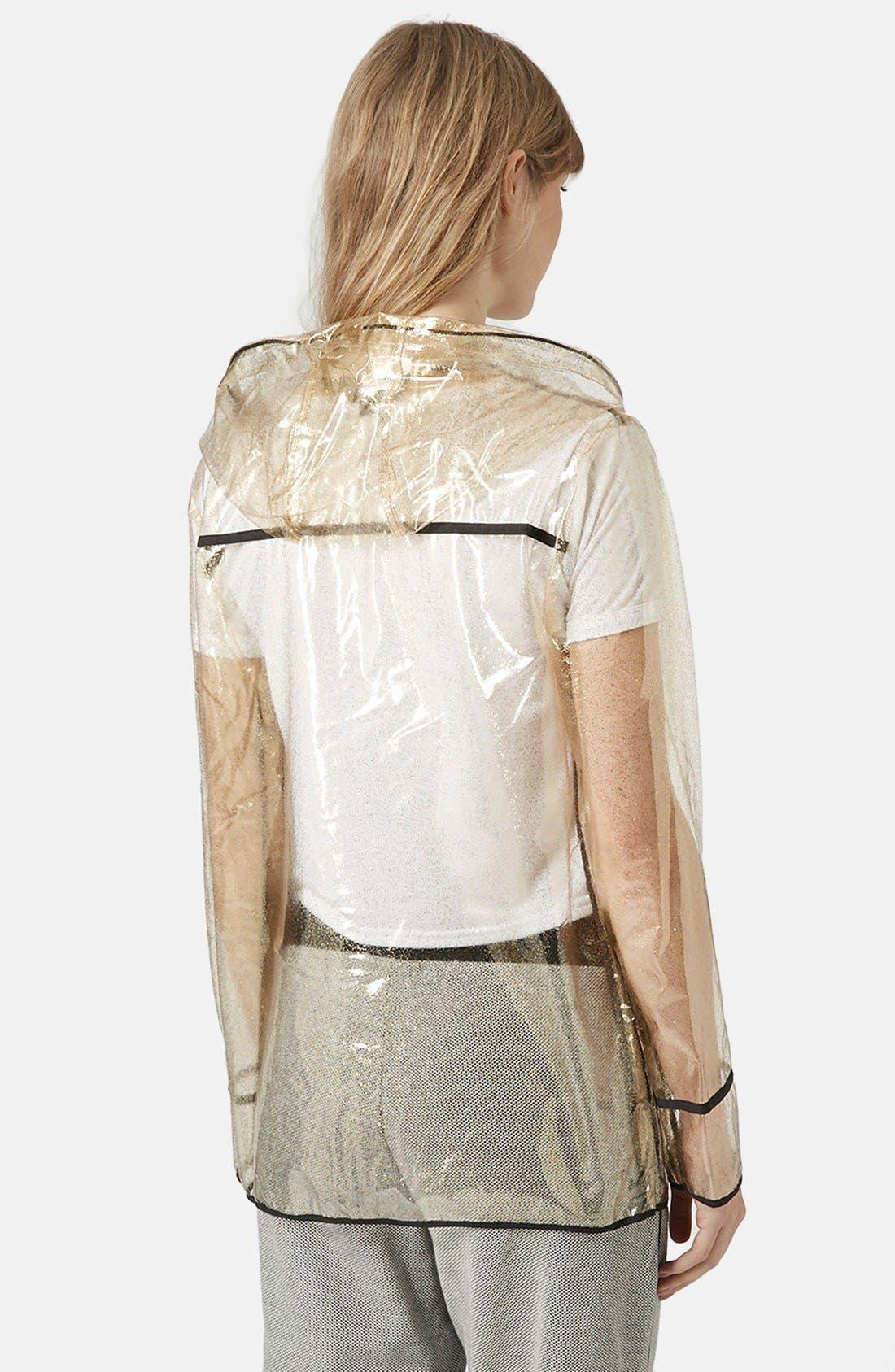 Gold Glitter Transparent Plastic Rain Jacket,                             Alternate thumbnail 2, color,                             Gold