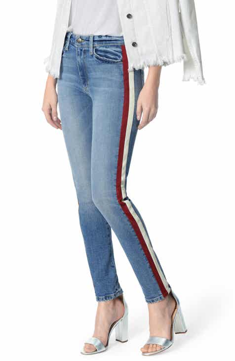 Joe's Charlie Lambskin Leather Stripe High Waist Ankle Skinny Jeans (Arlo) By JOES by JOES Today Sale Only