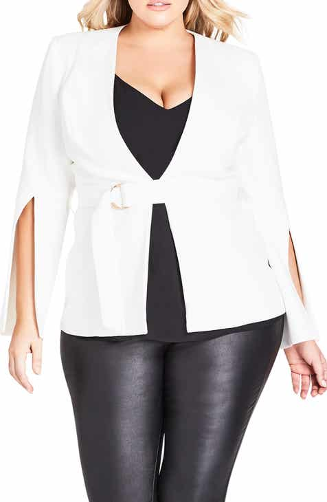 53ea525b943 City Chic Split Sleeve Belted Jacket (Plus Size)