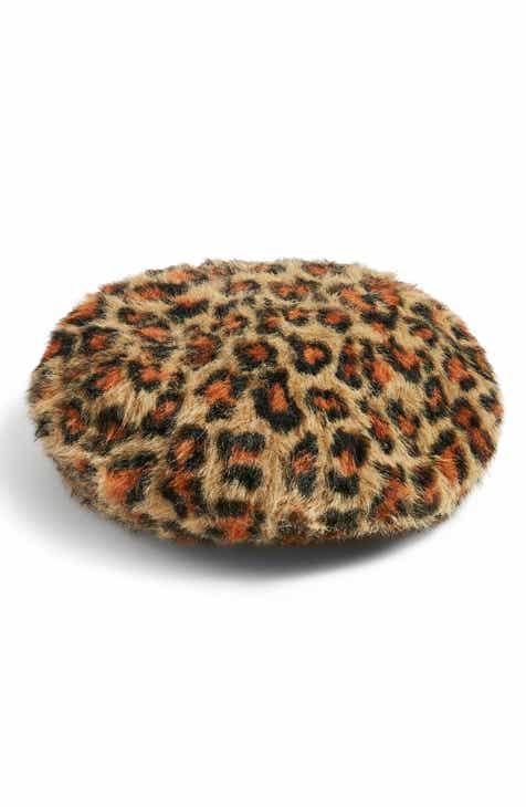 78c00755e6c Topshop Leopard Spot Faux Fur Beret