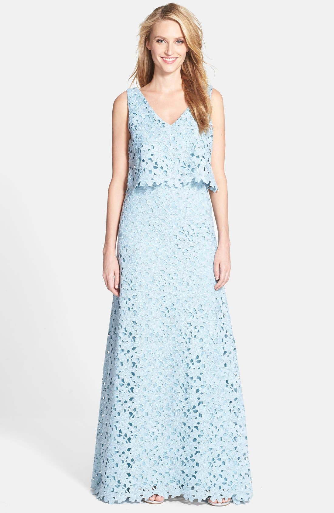 Main Image - Vera Wang Lace Popover Gown