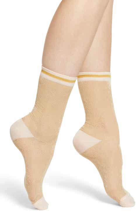 Treasure & Bond Metallic Pointelle Crew Socks by TREASURE AND BOND