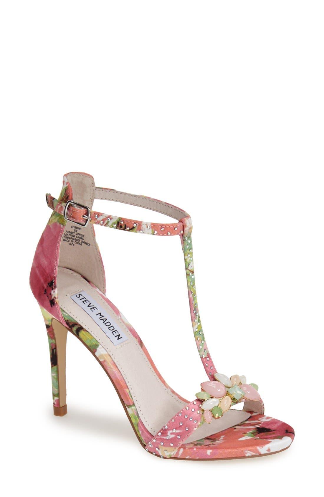 Alternate Image 1 Selected - Steve Madden 'Shawna' Embellished T-Strap Sandal (Women)