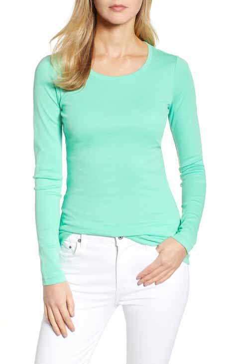 c3b1a4515c1b05 Caslon® Long Sleeve Scoop Neck Cotton Tee (Regular   Petite)