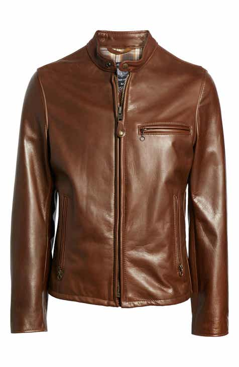 Schott NYC Café Racer Oil Tanned Cowhide Leather Moto Jacket 08e35fda59e