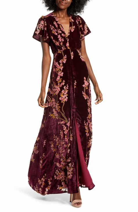 huge selection of ad947 8b69e 4SI3NNA Floral Burnout Velvet Maxi Dress