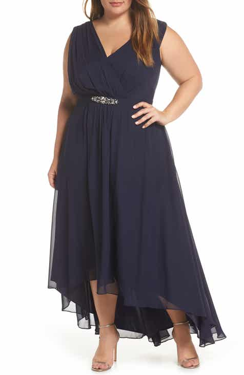 3dd6e882172c Eliza J Wrap Look High Low Chiffon Dress (Plus Size)