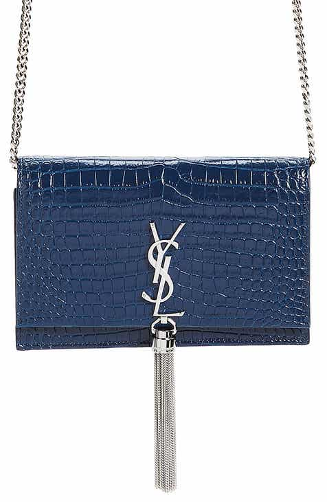 1c5fbb01ffa Saint Laurent Kate Croc Embossed Leather Wallet on a Chain