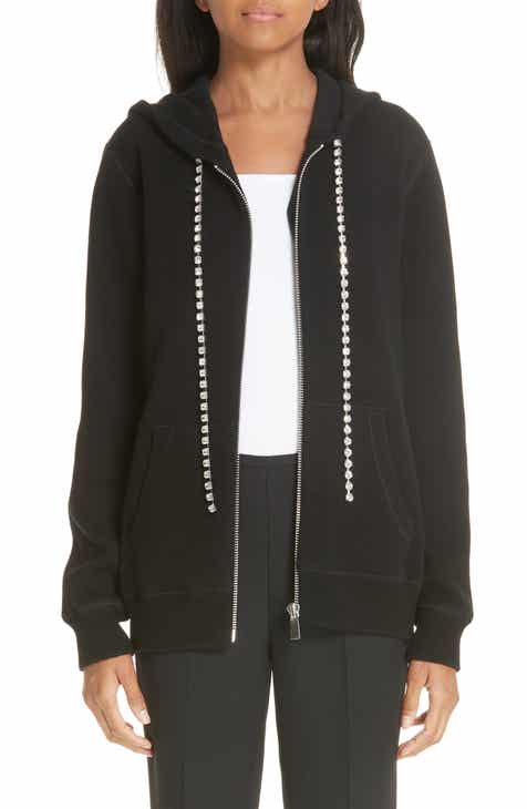 Michael Kors Crystal Drawstring Cashmere Blend Hoodie by MICHAEL KORS