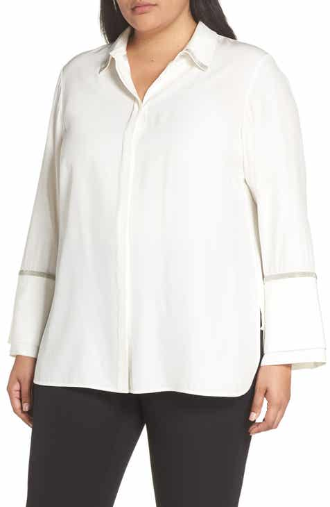 ed68ff35231965 Lafayette 148 New York Katja Chain Detail Silk Blouse (Plus Size)