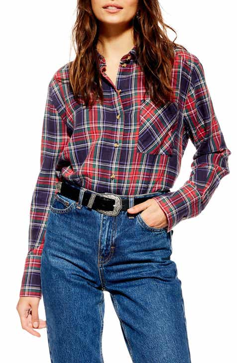 2ba7d4aa69 Topshop Pacey Washed Check Plaid Shirt