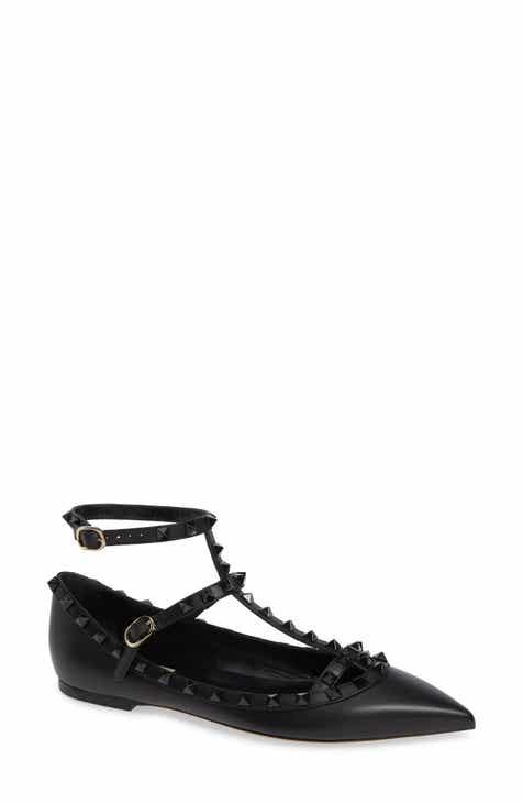 17381e20086ee VALENTINO GARAVANI Rockstud Double Ankle Strap Pointy Toe Flat (Women)