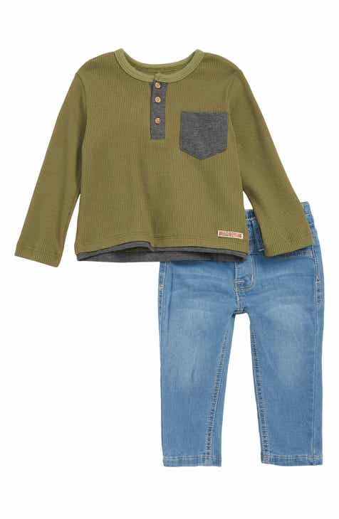 Hudson Kids Thermal Henley Shirt & Jeans Set (Baby)