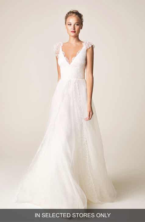 70d8c4b67c3d Jesús Peiró V-Neck Cap Sleeve Wedding Dress