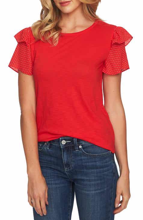 e66dd6931750fc CeCe Mix Media Ruffle Sleeve Cotton Blend Top