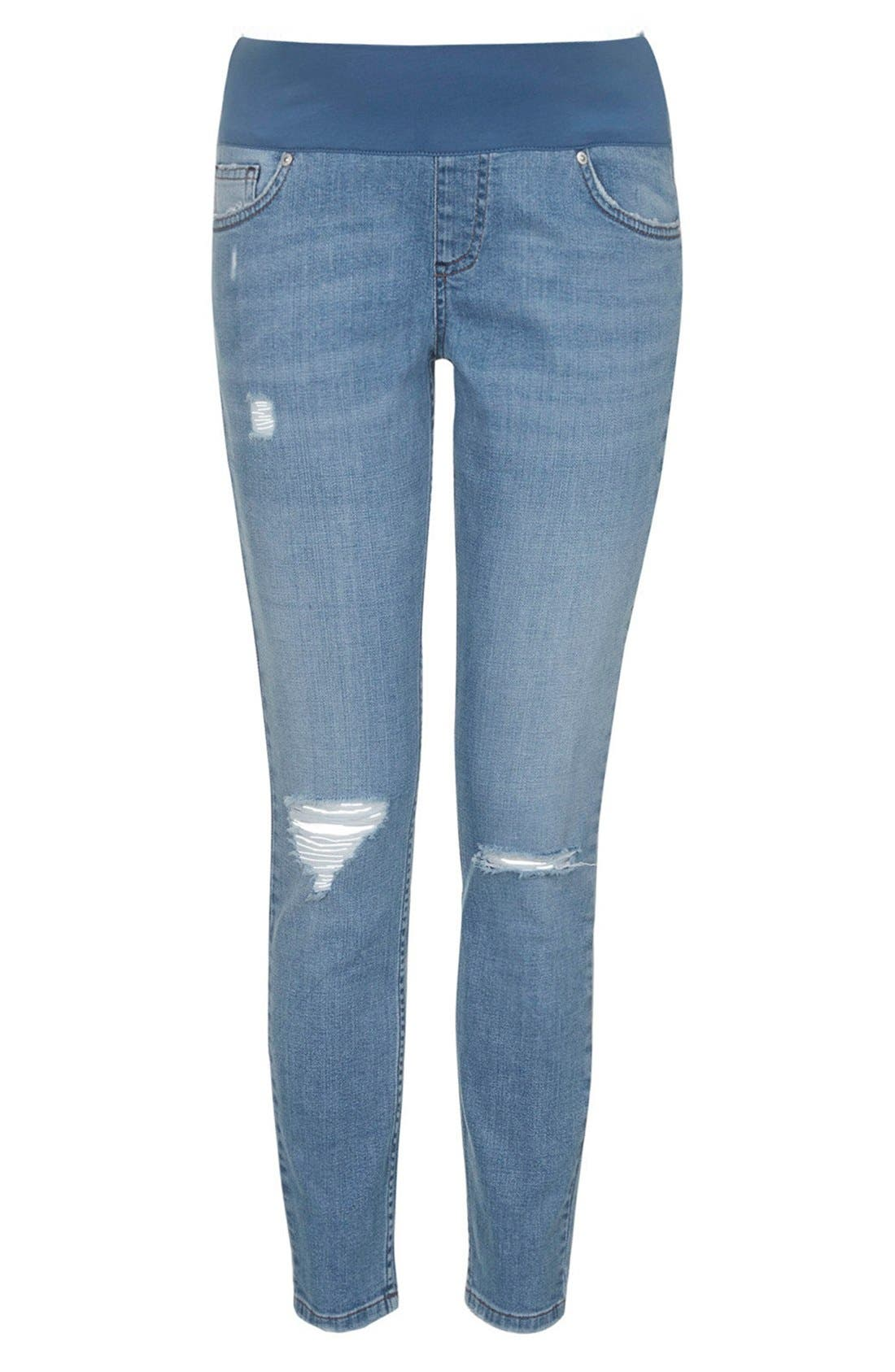 Main Image - Topshop Moto Ripped Maternity Skinny Jeans (Light Denim)