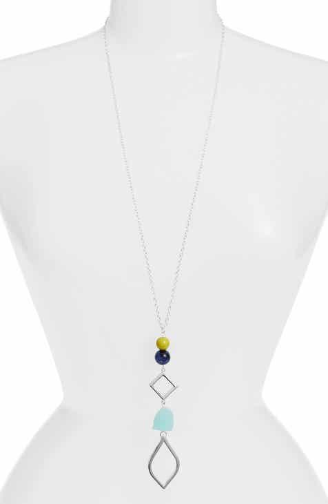 0d4f73125b0 Simon Sebbag Stone Drop Pendant Necklace