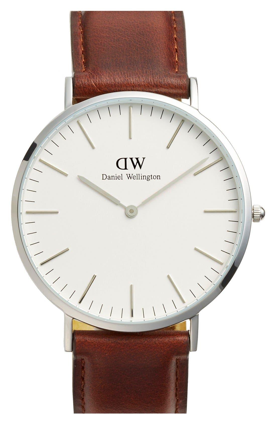 Main Image - Daniel Wellington 'Classic St. Mawes' Leather Strap Watch, 40mm