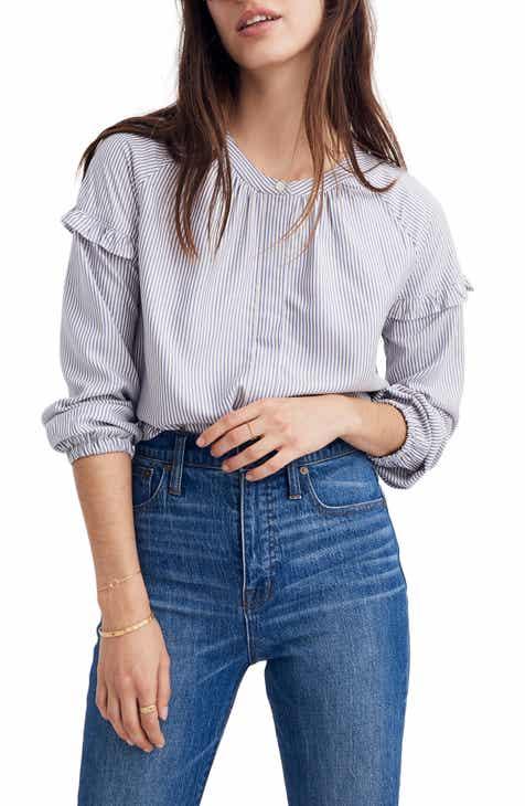 e20fa953b5 Madewell Stripe Collarless Ruffle Sleeve Shirt (Regular   Plus Size ...