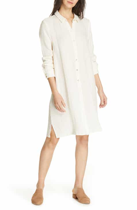 c4b3975a050 Eileen Fisher Classic Crinkle Organic Cotton Shirtdress