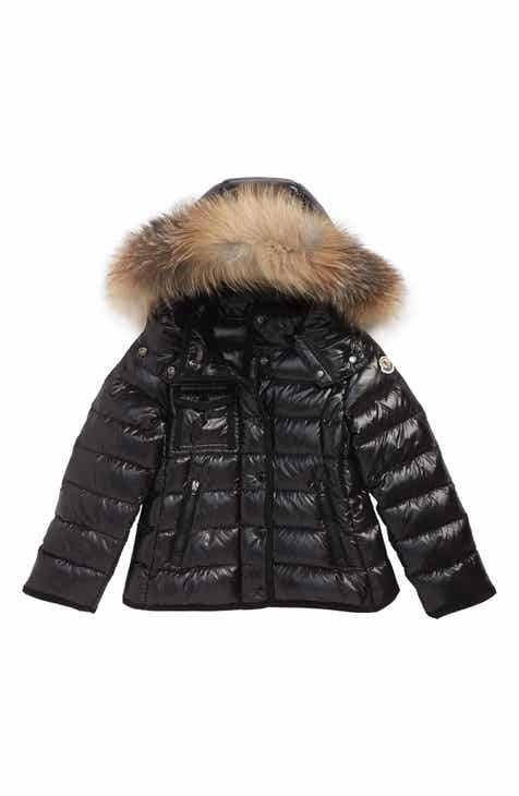 31964b90def Moncler Armoise Hooded Down Jacket with Genuine Fox Fur Trim (Baby)