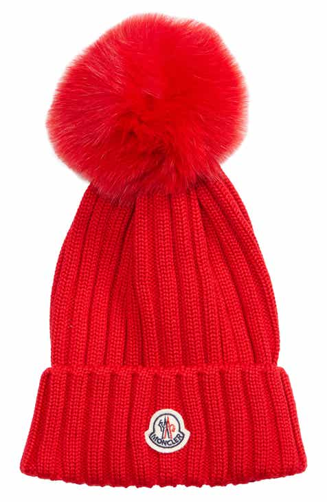 a55f7ef27a318 Moncler Genuine Fox Fur Pom Wool Beanie