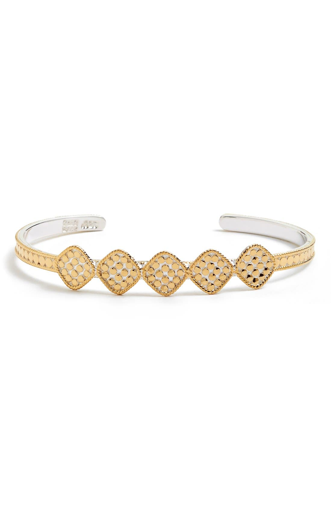 'Gili' Cushion Skinny Cuff,                         Main,                         color, Gold/ Silver