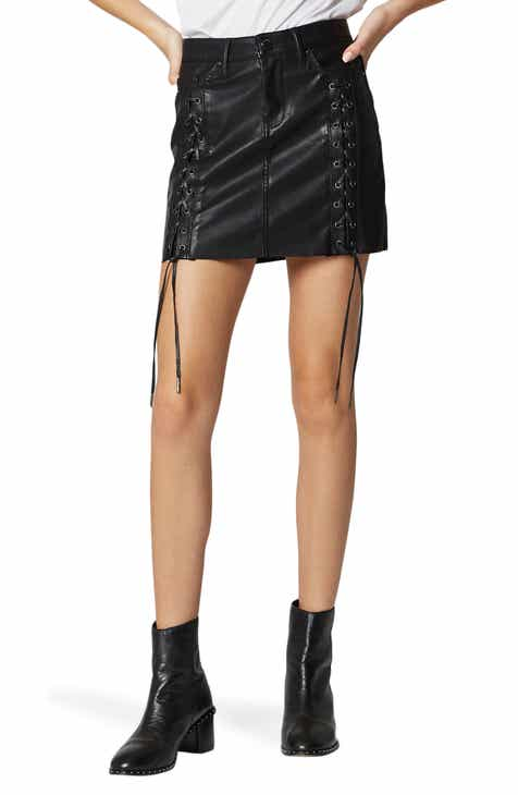 BLANKNYC Lace-Up Faux Leather Skirt