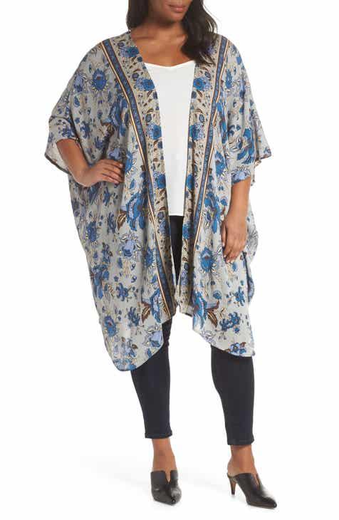 f80be81c8549a Angie Floral Print Kimono (Plus Size)