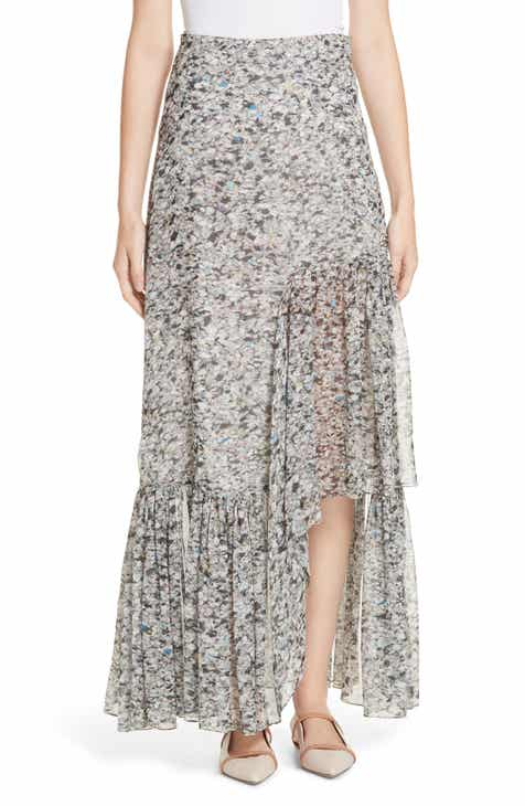 Rosetta Getty Foam Print Asymmetrical Silk Skirt by Rosetta Getty