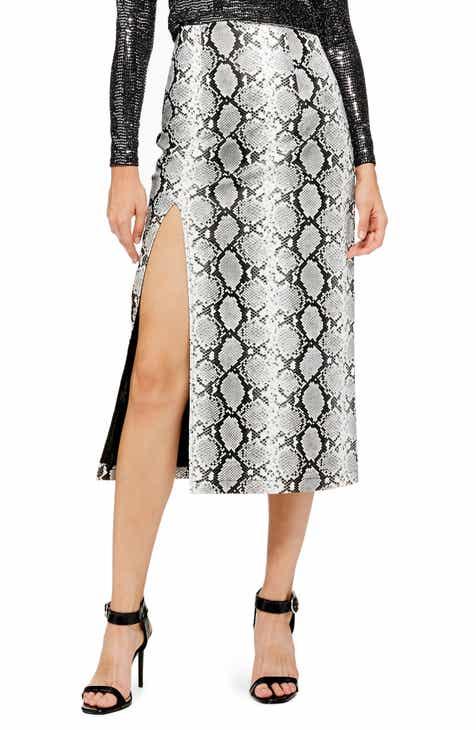 cd4da945af Topshop Snake Print Faux Leather Midi Skirt