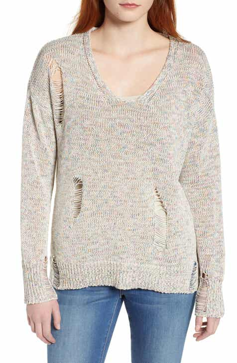 Caslon® Shredded Sweater (Regular & Plus Size) by CASLON