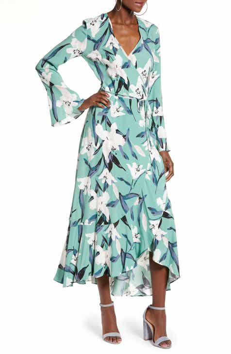 Leith Bell Sleeve Wrap Midi Dress (Regular & Plus Size) by LEITH